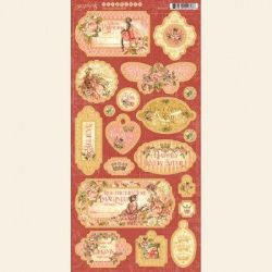 "Graphic 45 Princess - Chipboard Die-Cuts 6""X12"" Sheet Decorative & Journaling"